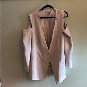 Beige cold shoulder blazer (suit jacket)